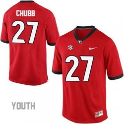 Nick Chubb Georgia Bulldogs #27 NCAA Jersey - Red - Youth