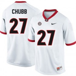 Nick Chubb Georgia Bulldogs #27 NCAA Jersey - White