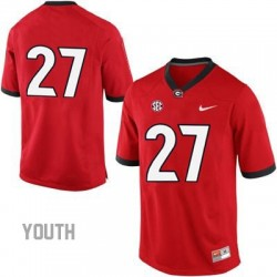 Nick Chubb Georgia Bulldogs #27 (No Name) NCAA Jersey - Red - Youth