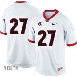 Nick Chubb Georgia Bulldogs #27 (No Name) NCAA Jersey - White - Youth