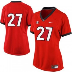 Nick Chubb Georgia Bulldogs #27 (No Name) Women's Jersey - Red