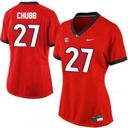Nick Chubb Georgia Bulldogs #27 Women's Jersey - Red