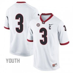 Todd Gurley Georgia Bulldogs #3 (No Name) NCAA Jersey - White - Youth