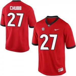 Nick Chubb Georgia Bulldogs #27 NCAA Jersey - Red