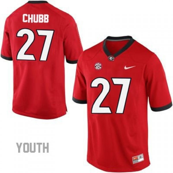 best website 4503f 0729d Nick Chubb Georgia Bulldogs #27 NCAA Jersey - Red - Youth