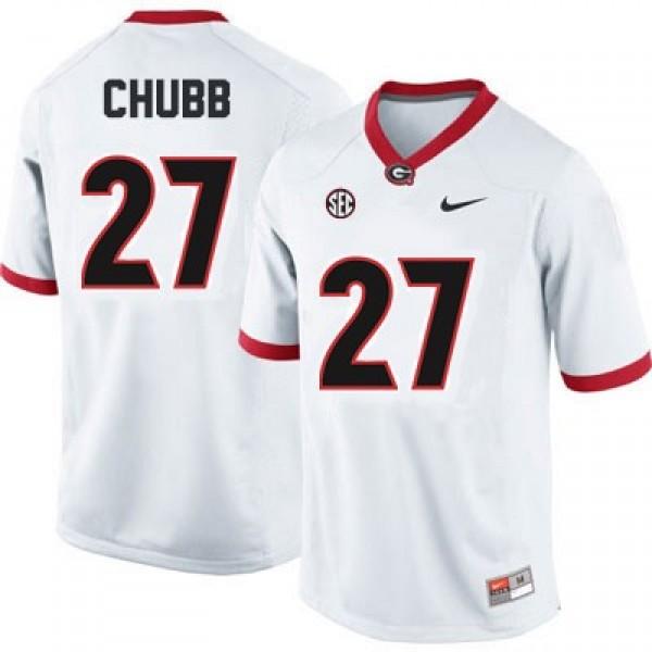 reputable site 0ef94 7dede Nick Chubb Georgia Bulldogs #27 NCAA Jersey - White